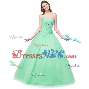 Simple Sweetheart Tulle Apple Green Quinceanera Dress with Beading