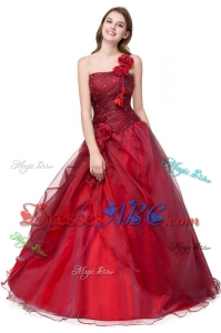 Simple One Shoulder Red Quinceanera Dress with Handcraft and Ruching