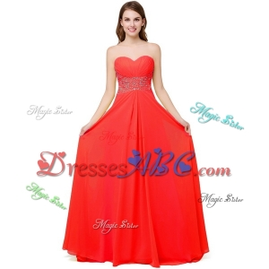 Fashionable Sweetheart Brush Train Chiffon Lace Up Beaded Prom Dresses in Coral Red