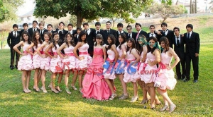 Popular Strapless Bubble Taffeta Quinceanera Package in Watermelon Red