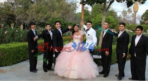 Discount Tulle Beaded and Ruffled Sweetheart Quinceanera Package in Baby Pink