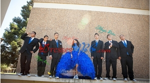Beautiful Really Puffy Royal Blue Quinceanera Package with Beading and Ruffles