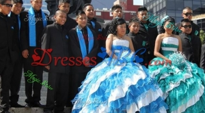 Affordable Taffeta and Tulle Two Tone Quinceanera Package with Ruffled Layers