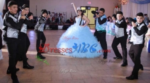 Hot Sale White Puffy Skirt Quinceanera Package with Ruffles and Beading