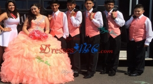 Beautiful Beaded and Ruffled Straps Orange Red Quinceanera Package