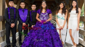 Wonderful Organza Ruffled and Beaded Quinceanera Package in Purple