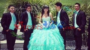 Classical Beaded Bodice and Ruffled Sweetheart Quinceanera Package in Turquoise