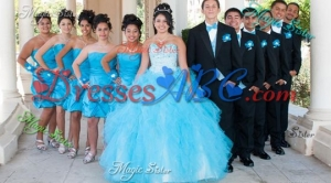 Pretty Sweetheart Baby Blue Quinceanera Package with Beading and Ruffles