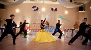 New Arrivals Big Puffy Beaded Yellow Quinceanera Package in Tulle