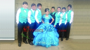 Best Selling Bubble and Embroideried Aqua Blue Quinceanera Package in Taffeta and Organza