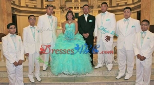 Perfect Beaded Sweetheart Mint Quinceanera Package with Ruffles and Bubbles