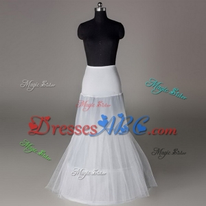 Hot Sale Cheap High Quality Mermaid Wedding Petticoat 2 Hoops Floor Length Long White Crinoline Unde