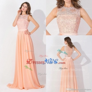 Peach Pink Long Chiffon Cheap Prom Dresses 2017 Lace Real Image Backless Sheer Long Evening Gowns In