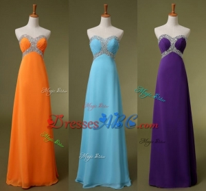 Cheap In Stock Bridesmaid Dresses Sweetheart Beads A Line Chiffon Summer Orange Purple Sky Blue Maid