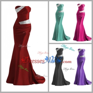 Elegant Strapless Beaded Wine Red Prom Dress with Brush Train H46