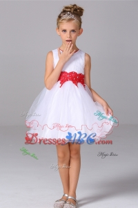 Cheap Princess Scoop Mini-length Tulle Flower Girl Dress with Beading