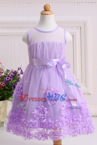 Beautiful Lavender Short Flower Girl Dress with Handcraft