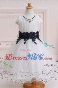 Beautiful Princess Scoop Mini-length Tulle Appliqued Flower Girl Dress for Party