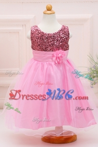 Luxurious Ball Gown Rose Pink Sequins Long Flower Girl Dress in Tulle