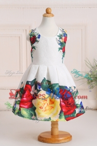 Unique Print Puffy Scoop Knee-length Flower Girl Dress in Multi-color