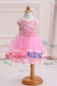 Pretty Mini-length Handcrafted and Ruffled Layers Flower Girl Dress for Birthday Party