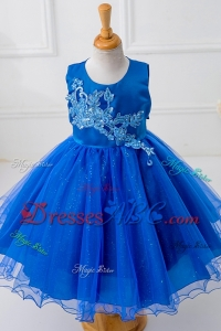 Royal Blue Princess Short Flower Girl Dress with Appliques and Bowknot