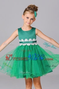 Simple Green Princess Scoop Mini-length Flower Girl Dress in Tulle