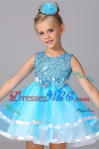 Beautiful Scoop Beaded and Bowknot Aqua Blue Short Flower Girl Dress for Birthday Party