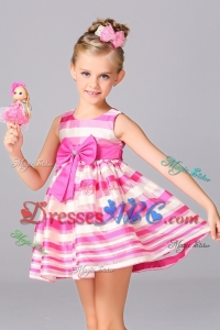 Cheap Mini-length Bowknot Flower Girl Dress in White and Pink