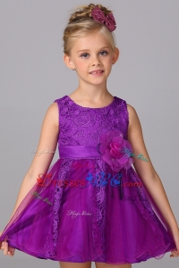 Princess Scoop Mini-length Purple Flower Girl Dress with Handcraft and Lace