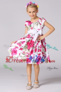 Simple A-Line Scoop Mini-length Short Sleeves Flower Girl Dress in Print