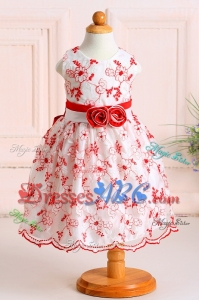 Puffy Scoop Embroideried and Handcrafted Long Flower Girl Dress in White