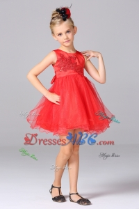 Elegant A-Line Scoop Mini-length Red Flower Girl Dress with Appliques and Bowknot