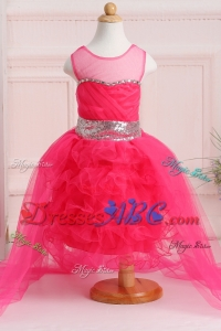 Ball Gown Scoop High-low Sequins Flower Girl Dress in Hot Pink