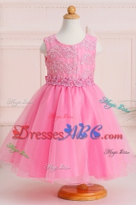Pretty Scoop Applique Long Flower Girl Dress in Baby Pink