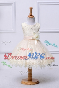 Beautiful Scoop Mini-length Champagne Flower Girl Dress with Appliques