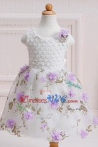 Elegant Ball Gown Scoop Printed Short Flower Girl Dress with Handcraft