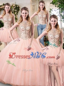 Perfect Puffy Skirt Tulle Peach Removable Quinceanera Dresses with Beaded Bodice