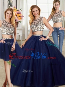 Gorgeous Two Piece Scoop Navy Blue Removable Quinceanera Gowns with Brush Train