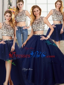 Exclusive See Through Brush Train Navy Blue Detachable Quinceanera Dresses in Tulle