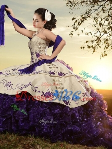 Classical White and Purple Organza and Taffeta Embroideried Sweet 16 Dress with Brush Train