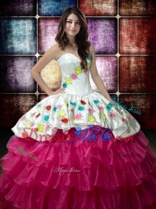 Country LifeStyle New Style Fuchsia and White Quinceanera Dress with Embroidery and Ruffled Layers