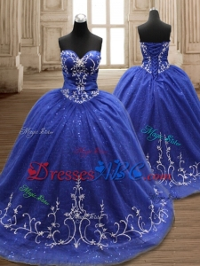 Exquisite Brush Train Embroideried Quinceanera Dress in Royal Blue