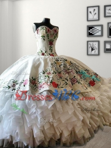 Discount Embroideried and Ruffled White Quinceanera Dress in Organza and Taffeta