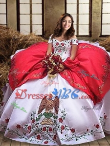Best Selling Embroideried and Ruffled Layers Taffeta White and Red Quinceanera Dress