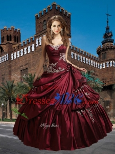 Most Popular Sweetheart Appliques and Ruffles Quinceanera Dresses in Burgundy