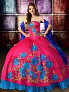 Unique Big Puffy Embroideried Strapless Blue and Red Quinceanera Dress in Satin
