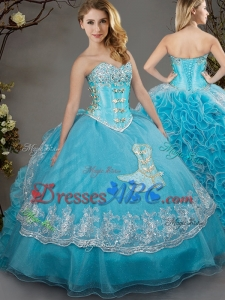 Unique Cowgirl Brush Train Beaded Applique and Laced Quinceanera Dress in Baby Blue