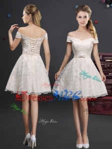 Pretty Applique and Laced Champagne Dama Dress in Knee Length