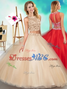 Two Piece See Through Scoop Simple Quinceanera Dress with Beading and Appliques